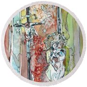 Saint Cecilia Ronda Spain Round Beach Towel