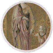 Saint Dorothy And The Infant Christ Round Beach Towel