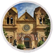 Saint Francis Cathedral Round Beach Towel