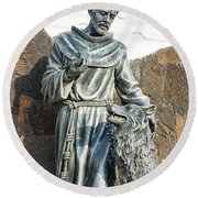 Saint Francis In Galapagos Round Beach Towel