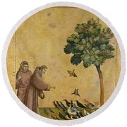 Saint Francis Of Assisi Preaching To The Birds Round Beach Towel
