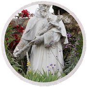 Saint Francis Statue In Carmel Mission Garden Round Beach Towel