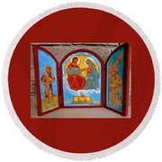 Saint Francis Tryptich Opened Round Beach Towel