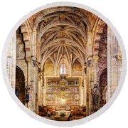 Saint Isidore - Romanesque Temple Altar And Vault - Vintage Version Round Beach Towel