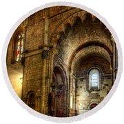 Saint Isidore - Romanesque Temple Transept Round Beach Towel