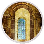 Saint Isidore - Romanesque Window With Stained Glass - Vintage Version Round Beach Towel