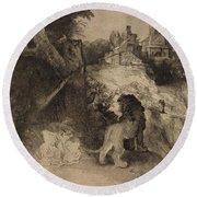 Saint Jerome In An Italian Landscape Round Beach Towel