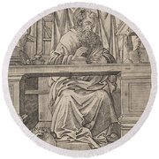 Saint Jerome In His Study Round Beach Towel