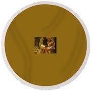 Saint Jerome Reading 1480-1490 Giovanni Bellini Round Beach Towel