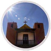 Saint Jeromes Chapel Taos Pueblo Round Beach Towel