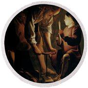 Saint Joseph The Carpenter  Round Beach Towel