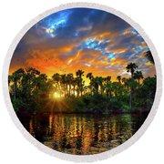 Saint Lucie River Sunset Round Beach Towel