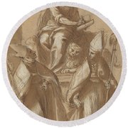 Saint Mark With Two Bishops And Putti Round Beach Towel