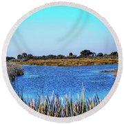 Saint Marks National Wildlife Refuge Lagoon Round Beach Towel
