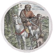 Saint Martin (c316-397) Round Beach Towel