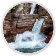 Saint Mary Falls - Glacier National Park Round Beach Towel