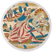 Saint Mary Magdalene Pray For Us Round Beach Towel