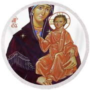 Saint Mary With Baby Jesus Round Beach Towel