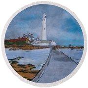 Saint Mary's Lighthouse Round Beach Towel