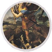 Saint Michael Overwhelming The Demon Round Beach Towel