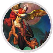 Saint Michael The Warrior Archangel Round Beach Towel