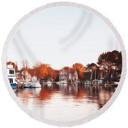 Saint Michael's Harbor Round Beach Towel by Bill Cannon