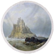Saint Michael's Mount In Cornwall  Round Beach Towel