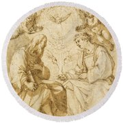 Saint Paul And Saint Stephen Crowned By Angels Round Beach Towel