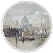 Saint Pauls From The River Round Beach Towel by David Roberts