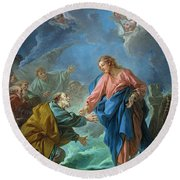 Saint Peter Invited To Walk On The Water Round Beach Towel