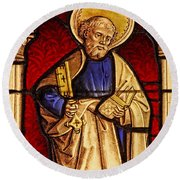 Saint Peter  Stained Glass Round Beach Towel