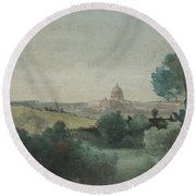 Saint Peter's Seen From The Campagna Round Beach Towel