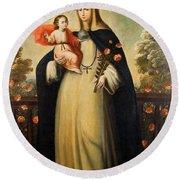 Saint Rose Of Lima With Child Jesus Round Beach Towel