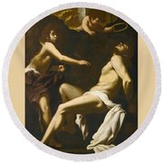 Saint Sebastian Succoured By The Angels Round Beach Towel