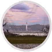 Saint Simon Island Lighthouse Round Beach Towel