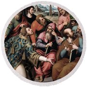 Saint Stephen In The Synagogue Round Beach Towel