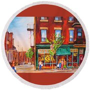 Saint Viateur Bagel Round Beach Towel