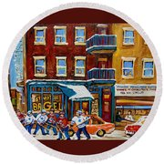Saint Viateur Bagel With Hockey Round Beach Towel