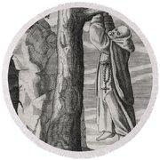 Saint Victorinus Does Penance Round Beach Towel