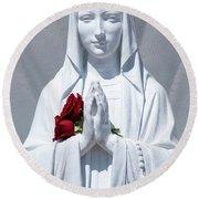 Saint Virgin Mary Statue #1 Round Beach Towel