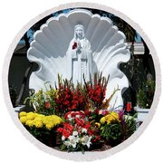 Saint Virgin Mary Statue #2 Round Beach Towel
