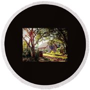 Saintly Sunset Round Beach Towel