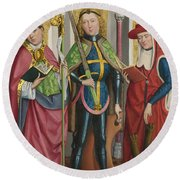 Saints Ambrose Exuperius And Jerome Round Beach Towel