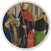 Saints Gregory Maurice And Augustine Round Beach Towel