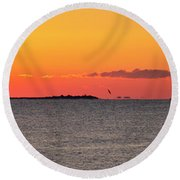 Sakonnet Point Sunrise And Lighthouse Round Beach Towel