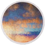 Salamonie Sunset Abstract Round Beach Towel