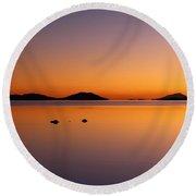 Salar De Uyuni Sunset Round Beach Towel