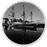 Salem Friendship Reflection Black And White Round Beach Towel