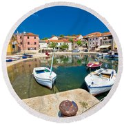 Sali Village On Dugi Otok Island Round Beach Towel