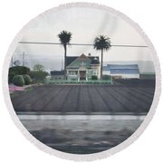Salinas Valley Victorian Mansion Round Beach Towel